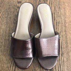 Thalia Sodi Open-Toe Bronze Wedges